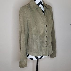 Live a Little Jackets & Coats - Green Sueded Leather Jacket w/ Snaps